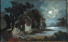 Douzette, Louis, Mondnacht, Öl, 11 x 17, sign.