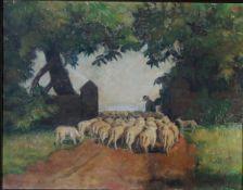 Facklam, Wilhelm, Schäfer mit Herde, Öl, 33 x 43, sign.