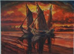 Beyer, Tom, Abend am Hafen, Aquarell, 36 x 47, sign.