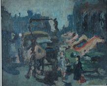 Levin, Julo, Dreschmaschine, Öl, 31 x 37, sign.