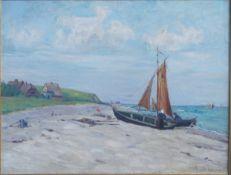 Müller-Gerhardt, Rudolf, Boote am Strand von Ahrenshoop, Öl, 49 x 65, sign.