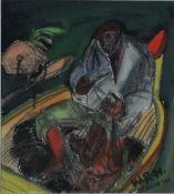 Huth, Willy Robert, Fischer im Boot, Hiddensee, Mischt., 16 x 15, sign.