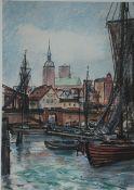 Lietz, Heinrich, Ansicht Stralsund, Aquarell, 39 x 28, sign.
