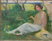 Büchsel, Elisabeth, Frau in der Wiese sitzend, Öl, 33 x 40, sign.