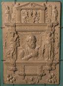 Reliefbild von Julius Echters von Mespelbrunn 1576 (Nachguss, 20. Jh.), rs. bez., ca. 24 x 16 cm,