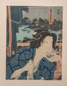 Runisada wohl (wohl 19./20. Jh.), japanischer Farbholzschnitt, mehrfach bez./sign.,ca. 31,5 x 24 cm,