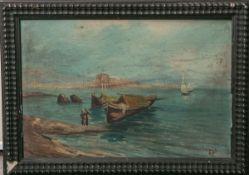 Bell, Vanessa wohl (1879 - 1961), süditalienische Küstenlandschaft m. Fischerbooten, Öl/