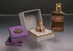 2 Parfüm-Miniaturen, bestehend aus: 1x Myrna Pons in Kronenform u. 1x Shalimar von Guerlain, dazu 1x