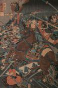 Unbekannter Künstler (wohl 19./20. Jh.), Darstellung v. Samurais auf Pferden im Kampf, japanischer