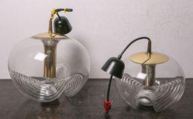 """Deckenlampe von """"Peill u. Putzler"""" (1970er Jahre), 1-flammig, klares Glas, goldfarbene Montierung,"""