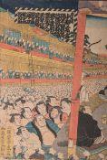 """Yoschitora (Teil eines Triptychons), japanischer Farbholzschnitt (wohl 19./20. Jh.), bez. """"bei"""