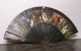 Alter Fächer (20. Jh.), wohl Mahagoniholzplatten auf Pressholzplatte montiert, 14 Platten m.