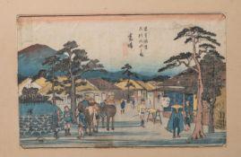 Hotai wohl (wohl 19./20. Jh), japanischer Farbholzschnitt, mehrfach bez./sign., ca. 23 x 34 cm,