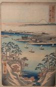 Hiroshige wohl (wohl 1858), Teil v. 36 Ansichten des Fuji, japanischer Farbholzschnitt, mehrfach