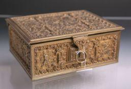Schatulle (Historismus), Bronze/Messing m. Zedernholzinnenauskleidung, rechteckige Form, m.