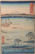 Hiroshige wohl (wohl 19./20. Jh.), Teil v. 36 Ansichten des Fuji, japanischer Farbholzschnittt,