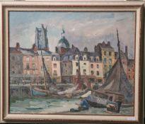 "Thurn, Hanns (1889-1963), ""Emden Hafen"", Öl/Pappe, re. u. sign., rs. bez. u. numm. 360, ca. 38,5 x"