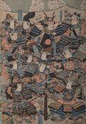 Sodahide wohl (wohl 19./20. Jh.), Samurais im Kampf, japanischer Farbholzschnitt, mehrfach bez./