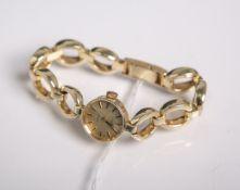 "Damenarmbanduhr ""Priosa"" 585 GG, Incabloc, goldenfarbenes Zifferblatt m. Markierungen, gestempelt:"