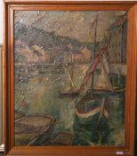 Unbekannter Künstler (wohl Anfang/Mitte des 20. Jhs.), impressionistisch gemalte Hafenansicht m.