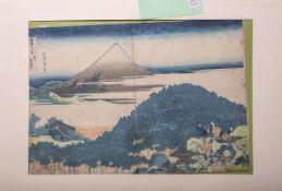 Hokusai (aus 36 Ansichten des Fuji), japanischer Farbholzschnitt (wohl 19./20. Jh.), li. oben im