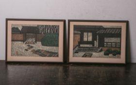 "Okamoto, Moriaki (20. Jh.), ""Katuna (I)"" u. ""Katuna (Gate)"" (laut Rechnung), farbige Holzschnitte,"
