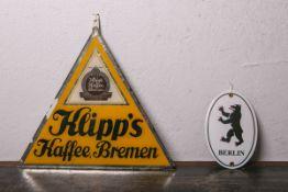 """Werbeschild aus Glas """"Klipp's Kaffee, Bremen"""" (wohl 1950er Jahre), ca. 31 cm. Zustand 3, dazu 1x"""
