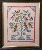 Stickmuster (wohl 1920/30er Jahre), Darst. von einem Baum m. Vögeln, Vogelartenbez., ca. 43 x 35 cm,