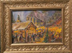 Unbekannter Künstler (20. Jh.), Weihnachtsmarkt, Öl/Karton, re. u. unleserlich sign., ca. 15 x 22