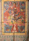 Thangka (wohl Indien), polychrome Malerei, Umrandung feines Stoffgewebe m. grünen Blüten bemalt, ca.