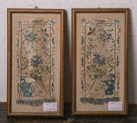 2 feine Stickarbeiten (wohl China 18/ 19. Jh.), Seide, ca. 18 x 8 cm, je hinter Glas gerahmt.
