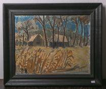 Szörs (wohl polnischer Maler des 20. Jhs.), impressionistisch gemalte Wald- / Schilflandschaft m.
