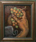 Claus, A. wohl (20. Jh.), zwei Hände Trauben umfassend, Öl/Lw. (auf Karton bespannt), li. u.