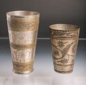 2 Becher (Persien, wohl 1. Hälfte 20. Jh.), Messing versilbert, konisch auslaufende Form, die