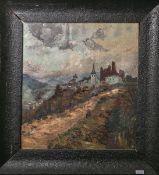 Unbekannter Künstler (wohl 19./20. Jh.), Burgruine m. einer Kirche u. Teilen einer Ortschaft, Öl/