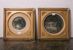 Paar bemalte Porzellanplatten in Sepiatönen (wohl Wilenburg ?, geprägte Ankermarke), davon 1x