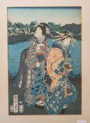 Unbekannter Künstler (Japan, Alter unbekannt), 2 Geishas, Farbholzschnitt, mehrfach bez./sign.,