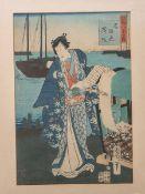 Kunichiko wohl (wohl 19./20. Jh.), japanischer Farbholzschnitt, mehrfach bez./sign., ca. 36 x 25 cm,