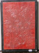 Oskar, R. (20. Jh.), ohne Titel, Wandreliefplatte m. abstrakter Darstellung in Rot, sign. u. dat. (