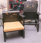 2 Stühle (China, Alter unbekannt), schwarz bemalt, m. farbigem u. goldenen Blumendekor, 1x 116 x