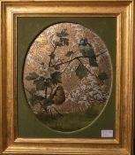 Unbekannter Künstler (20. Jh.), Vogeldarstellung, Mischtechnik, teils auf Gold- u. Silbergrund