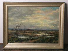 Unbekannter Künstler (wohl Anfang des 20. Jhs.), impressionistisch gemalte Moorlandschaft, Öl/Lw.,