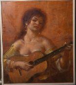 Unbekannter Künstler (20. Jh.), Gitarre spielende Spanierin, Öl/Sperrholzplatte, ca- 60 x 52 cm,