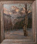 Curry, Robert Franz (1872 - 1955), winterliche Gebirgslandschaft, Öl/Malpappe, li. u. sign., ca.