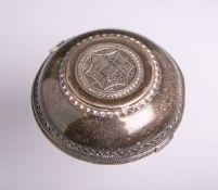 Runde Deckeldose mit jüdischen Motiven, u.a. Klagemauer, Tempelbergansicht, Davidstern, klappbar,