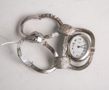 "Damenarmbanduhr ""Anker 85"" (im Stil der 1970er Jahre), Fassung u. Band 800 Silber, massiv, ovales"