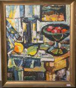 Musto, Janos (1934 - ?), abstraktes Stillleben m. Zitrusfrüchten, Öl/Holzplatte, Rs. m. einem