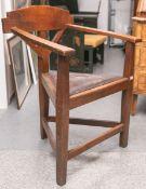 Alter Stuhl (wohl Hessen), Eichenholz, Dreieckform, ca. 86 x 61 x 52 cm, Sitzhöhe ca. 45,5 cm.