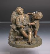 Unbekannter Künstler (wohl 20. Jh.), Bronze, Darstellung zweier Knaben, der Eine sitzend in