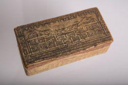 Schnupftabakdose aus Holz u. Papier,